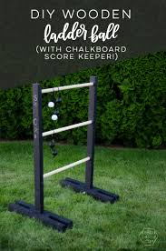 diy wooden ladder ball love the black and white look plus chalkboard for