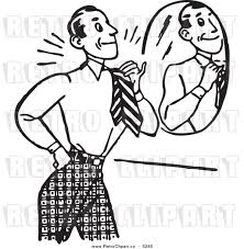 mirror clipart black and white. front clipart vector of a black and white retro gentleman adjusting his tie in mirror by bestvector #5285