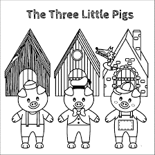 Kids don't have to be afraid of the big bad wolf when he's on paper! The Three Little Pigs Story Coloring Pages Coloring Home