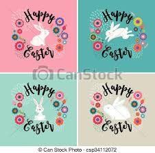 Easter Design With Cute Banny Greeting Cards Invitations