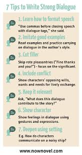 how to write dialogue in a story steps now novel infographic writing dialogue in a story now novel