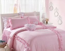 pink girls lace plaid ruffled bowtie bedding