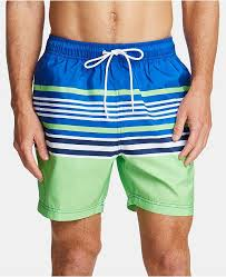 Mens Variegated Stripe Quick Dry 8 Swim Trunks