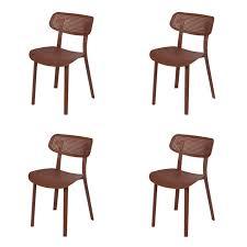 set of 4 garden chairs plastic brown