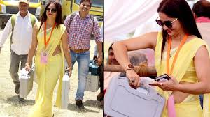 Yellow Saree Fame Up Poll Official Casts Vote Posts More Photos