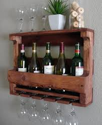 hanging wine rack rustic wall mount wine rack with 5 glass holder and shelf on