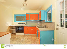 Old Fashioned Kitchen Old Fashioned Kitchen Interior With Orange And Blue Cabinets