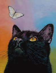 cat painting black cat erfly by michael creese