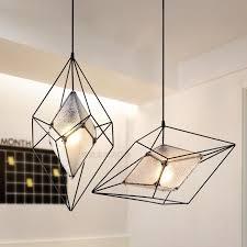 2017 new modern nordic dining lights wrought iron glass diamond pendant light postmodern geometric living room bar light brass pendant light star pendant
