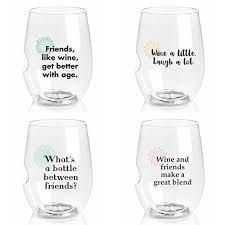 govino charmed series 16 ounce top rack dishwasher safe wine glasses 4 pack girlfriend sayings
