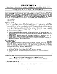 Awesome Collection of Maintenance Supervisor Resume Sample With Worksheet