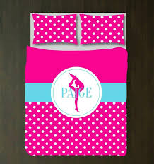 polka dot duvet cover custom gymnastics set gymnast bedding sports gift for girls hot pink and polka dot duvet cover