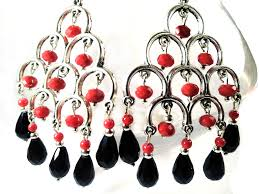 red crystal chandelier earrings