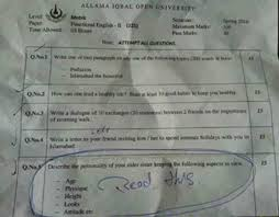 aiou initiates inquiry into objectionable question set for matric  aiou initiates inquiry into objectionable question set for matric students pakobserver
