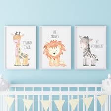 3er Set Kinderzimmer Babyzimmer Poster Bilder A4 Löwe Elefant Nilpferd