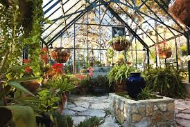greenhouse garden glass and stone