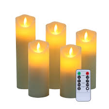 set of5 luminara flameless pillar ivory candles moving wick led timer remote wax from luminara
