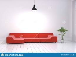 Modern Interior Design Of Living Room With Red Sofa And Plant Po