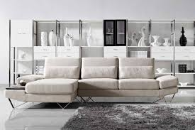 furniture beautiful beige fabric sectional sofas with furred gray rug on white ceramics floor and