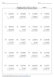 Subtraction Frenzy Worksheets Unique Subtraction Across Zeros 44digit What's New In 44 Pinterest