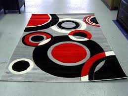 red area rug with geometric print