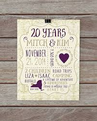20 year anniversary anniversary present custom gift for husband wife any year 20th anniversary gift for couple pas family paper