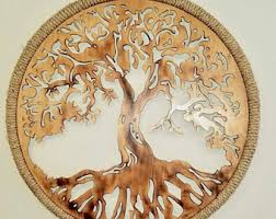 wooden carved tree wall art