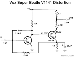 vox super beatle distortion fuzz germanium build report here s the distortion section pulled from the schematic again very similar to a fuzz face