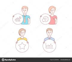People Set Star Update Time Demand Curve Icons Growth Chart