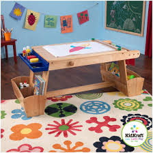 natural finish solid wood construction durable and sy paper roll kidkraft art table with drying rack