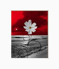 black white red wall decor beach flower