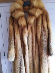beautiful full length red fox fur coat