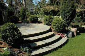 curved steps leading to circular patio seattle