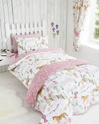 Girls White Green Pink Horse And Pony Show Double Duvet Cover