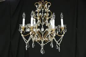 six candle 1940 s vintage chandelier crystal prisms