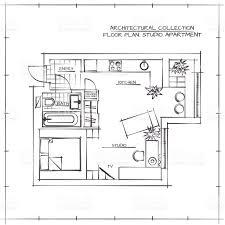 Blueprint. Studio Apartment royalty-free stock vector art