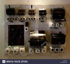 an old electric fuse box switchboard with ceramic fuses stock photo  at Old Fuse Box Is Now Called A