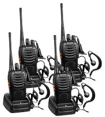 Arcshell rechargeable long range two way radios with earpiece 4 pack uhf 400 470mhz walkie talkies li ion battery and charger included