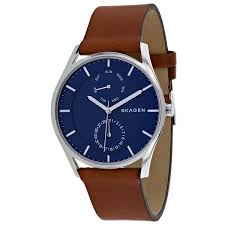 skagen skw6449 men s holst leather band 3 hand multifunction day date watch com