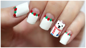 Winter / Christmas Nail Art!!! Polar Bear Wearing A Scarf ...