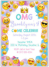 Birthday Party Invitation Emoji Birthday Party Invitations Kids Birthday