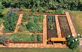 brick garden. neat and attractive paths are a garden highlight. the raised beds have been returned to brick d
