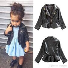 kid coat jackets autumn black zipper girl fashion pu long