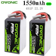 2PCS <b>Ovonic</b> 1550mAh <b>22.2V 100C</b> 6S1P LiPo Battery Pack with ...