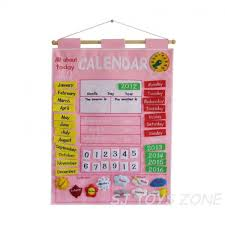 My Calendar Fabric Cloth Chart Pink Wall Hanging Learning Activity Kids Toy 49 95