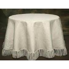 cream white burlap tablecloth round fringed overlay fringe round burlap