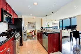 Pareti Bordeaux Immagini : Moderno appartamento interni in bianco e cucina bordeaux luminoso