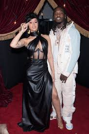 Cardi B Wears Leather Gown Strappy Sandals For Offsets