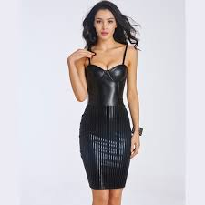 women s fashion y black leather corset dress with back zipper cf6038 black