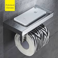 Modern toilet paper holder Build In Homerises Modern Silver Wall Mount Toilet Paper Holder With Shelf Brass Black